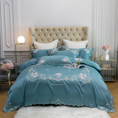 2020新款80S长绒棉刺绣四件套-慕拉菲系列 1.5m床单款 慕拉菲 纯净蓝