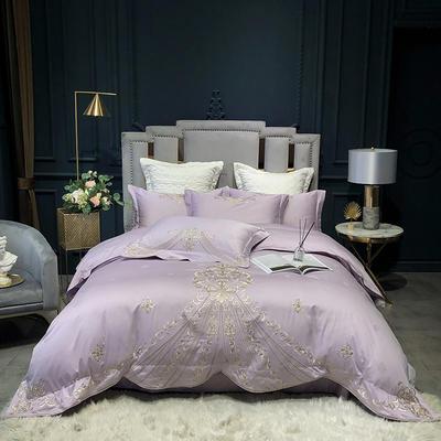 2020新款80长绒棉提花绣花四件套-伊莱斯系列 1.5m床单款 伊莱斯 典雅紫
