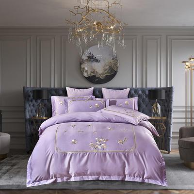 2020新品 60S兰精天丝刺绣四件套 春情如梦系列 1.5m床单款 丁香紫