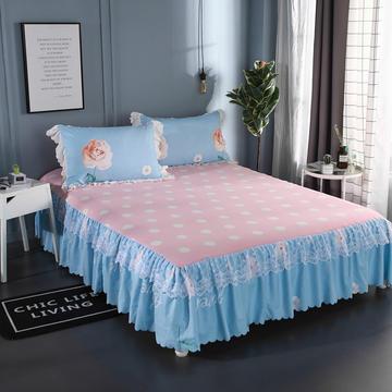 2018新款斜纹磨毛蕾丝四件套-欧式 1.2m(4英尺)床(三件套) 盛世牡丹-天空蓝
