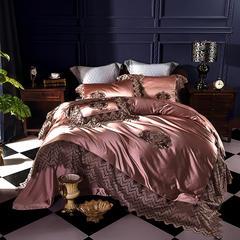 2018新款真丝棉60S长绒棉蕾丝花边四件套-暮色琉璃 1.8m(6英尺)床 抱枕35*50/只
