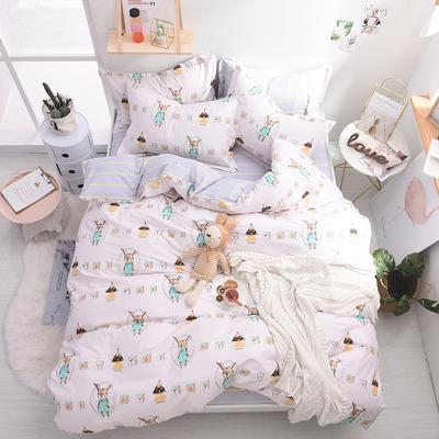 13070喷气小清新卡通四件套(三) 1.5m(5英尺)床(4件套) 呆呆兔