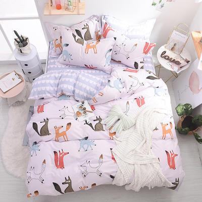 13070喷气小清新卡通四件套(三) 1.5m(5英尺)床(4件套) 可爱小狐