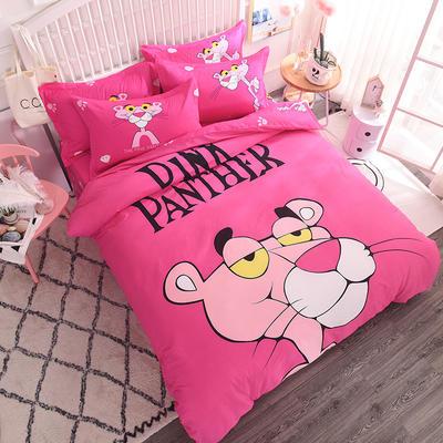 【总】大版卡通萌潮四件套 1.8m(6英尺)床 粉红豹