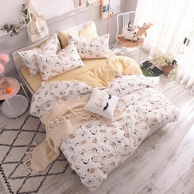 13070喷气小清新卡通四件套(二) 1.2m(4英尺)床单款三件套 小馋猫