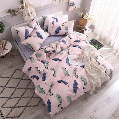 全棉130*70喷气斜纹印花四件套---植物花卉类 1.2m(4英尺)床单款三件套 粉颜