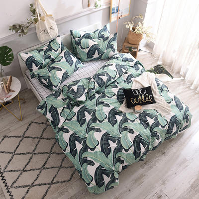 全棉130*70喷气斜纹印花四件套---植物花卉类 1.2m(4英尺)床单款三件套 绿意