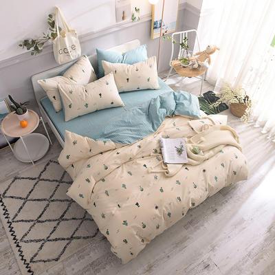 全棉130*70喷气斜纹印花四件套---植物花卉类 1.2m(4英尺)床单款三件套 蔓莲