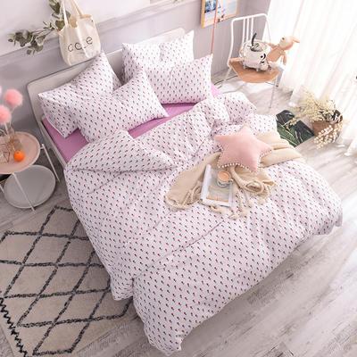 全棉130*70喷气斜纹印花四件套---植物花卉类 1.2m(4英尺)床单款三件套 情人节