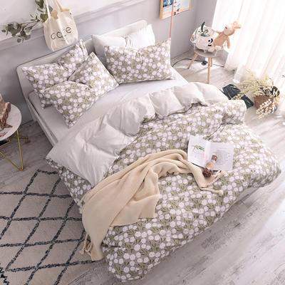 全棉130*70喷气斜纹印花四件套---植物花卉类 1.2m(4英尺)床单款三件套 秋意