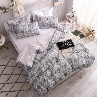 全棉130*70喷气斜纹印花四件套---植物花卉类 1.2m(4英尺)床单款三件套 素雅