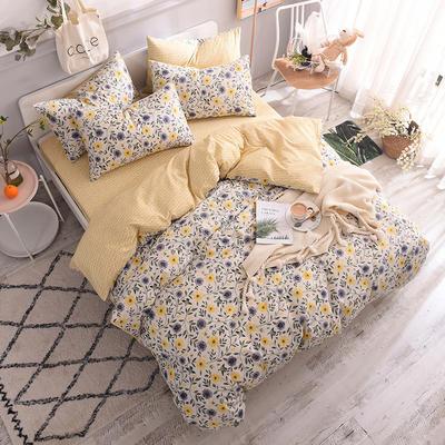 全棉130*70喷气斜纹印花四件套---植物花卉类 1.2m(4英尺)床单款三件套 田园