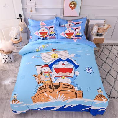 2018新品全棉大版花卡通四件套 1.2m(4英尺)床三件套 哆啦船长