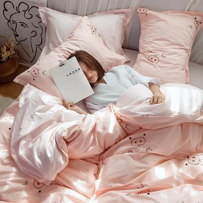 2019早春系列之小清新卡通全棉四件套 1.2m(4英尺)床【三件套】 猪猪女孩