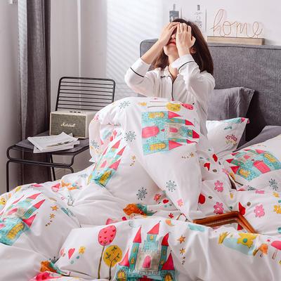 2019新品13374全工艺喷气全棉四件套 1.2m(4英尺)床三件套 蕾娅