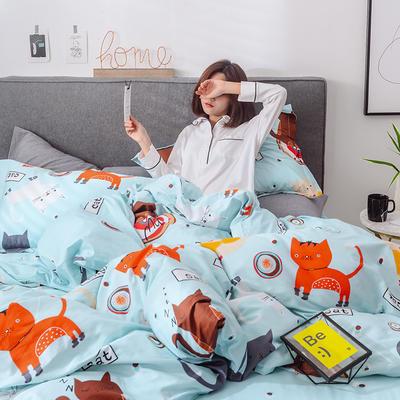 2019新品13374全工艺喷气全棉四件套 1.2m(4英尺)床三件套 猫咪精灵