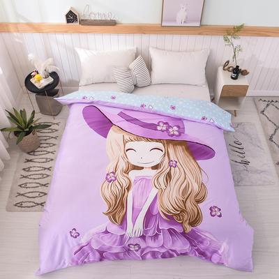 2019新品全棉大版单品被套 150x200cm 紫薇姑娘