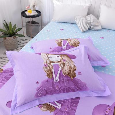 2019新款全棉大版单品枕套/个 48cmX74cm 紫薇姑娘