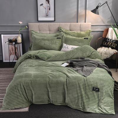 2019新款色织牛奶绒四件套(贴标款) 1.8m(6英尺)床单款 纽约-绿