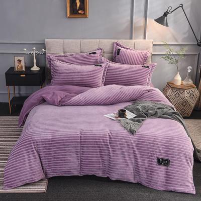2019新款色织牛奶绒四件套(贴标款) 1.5m(5英尺)床单款 纽约-紫