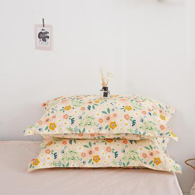 2020新款13070喷气花卉系列单品枕套 48cmX74cm/个 花绣-黄