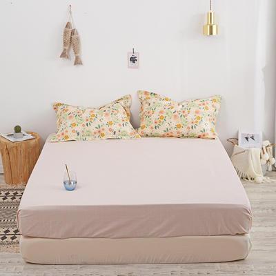 2020新款13070喷气花卉系列单品床笠 150cmx200cm 花绣-黄