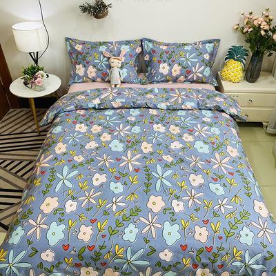 2020新款13070噴氣花卉系列(實拍圖) 1.2m床單款三件套 瓦爾帕-藍