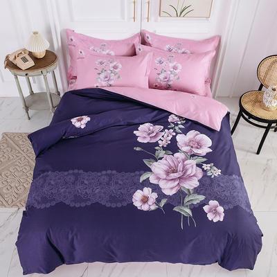 2020新款13070 斜纹全棉中国风四件套 1.5m床单款四件套 紫薇花