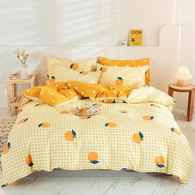 2020新款13372嵌条新品四件套 1.2m床单款三件套 柑橘
