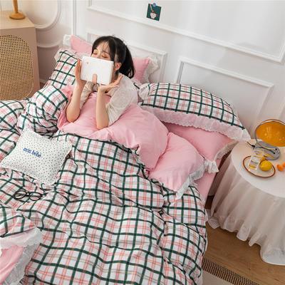 2020新款全棉刺绣花边款四件套 1.5m床单款四件套 多彩格
