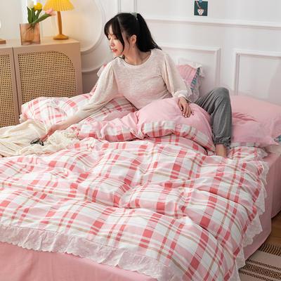 2020新款全棉刺绣花边款四件套 1.5m床单款四件套 粉玉格
