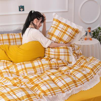 2020新款全棉刺绣花边款四件套 1.5m床单款四件套 黄格