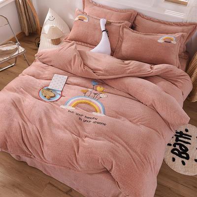 2020新款牛奶绒毛巾绣四件套 1.8m床单款四件套 彩虹咖