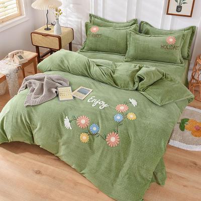 2020新款牛奶绒毛巾绣四件套 1.8m床单款四件套 花开朵朵果绿