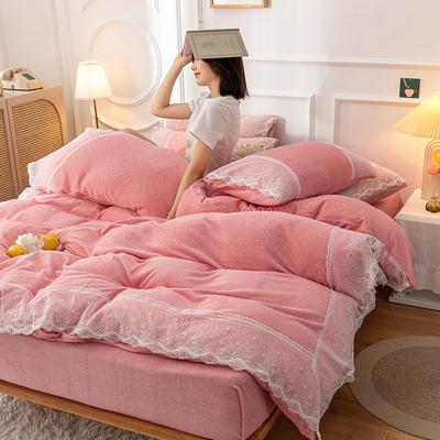 2020新款牛奶绒蕾丝花边四件套 1.2m床单款三件套 粉玉