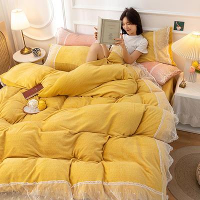 2020新款牛奶绒蕾丝花边四件套 1.2m床单款三件套 黄色