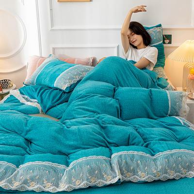 2020新款牛奶绒蕾丝花边四件套 1.2m床单款三件套 孔兰