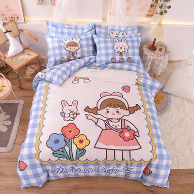 2020新款全棉定位大版卡通系列 1.2m床单款三件套 兔女孩