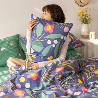 2021新款全棉13070四件套(小清新花卉系列) 1.5m床单款四件套 沁语繁花-紫