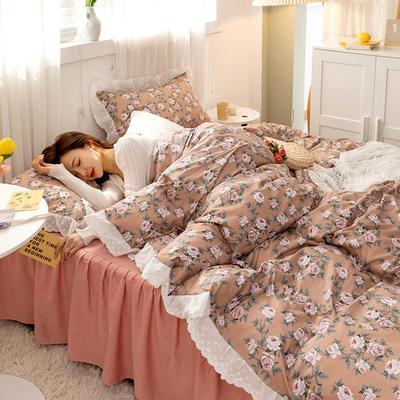 2021新款小清新全棉13372法式复古风刺绣花边系列四件套 1.5m床单款四件套 玫瑰