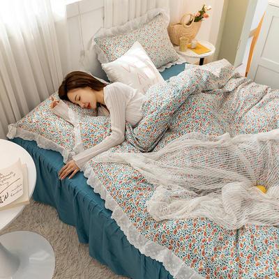 2021新款小清新全棉13372法式复古风刺绣花边系列四件套 1.5m床单款四件套 木槿