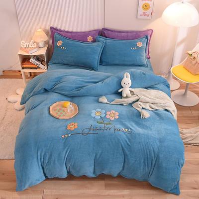 2021新款牛奶绒毛巾绣四件套-向阳花系列 1.8米床单款四件套 向阳花-湖蓝