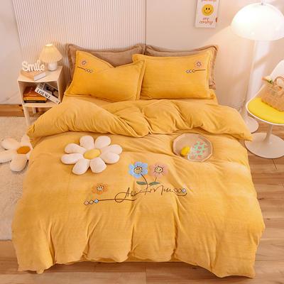 2021新款牛奶绒毛巾绣四件套-向阳花系列 1.8米床单款四件套 向阳花-黄色
