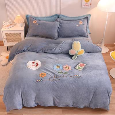 2021新款牛奶绒毛巾绣四件套-向阳花系列 1.8米床单款四件套 向阳花-灰色