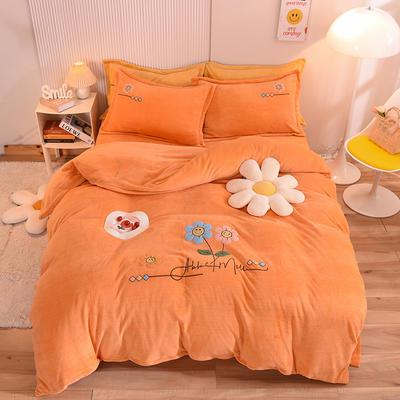 2021新款牛奶绒毛巾绣四件套-向阳花系列 1.8米床单款四件套 向阳花-橘色
