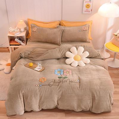 2021新款牛奶绒毛巾绣四件套-向阳花系列 1.8米床单款四件套 向阳花-卡其
