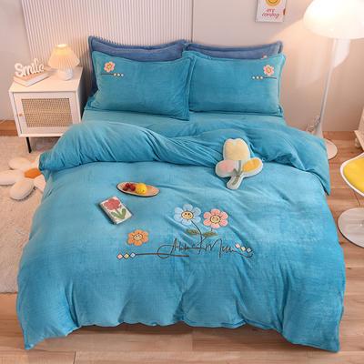 2021新款牛奶绒毛巾绣四件套-向阳花系列 1.8米床单款四件套 向阳花-孔蓝