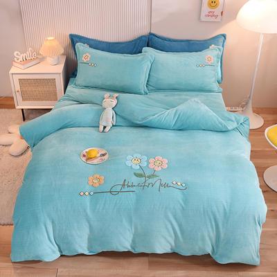 2021新款牛奶绒毛巾绣四件套-向阳花系列 1.8米床单款四件套 向阳花-水蓝