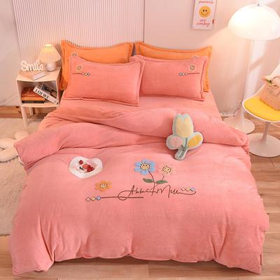 2021新款牛奶绒毛巾绣四件套-向阳花系列 1.8米床单款四件套 向阳花-玉色