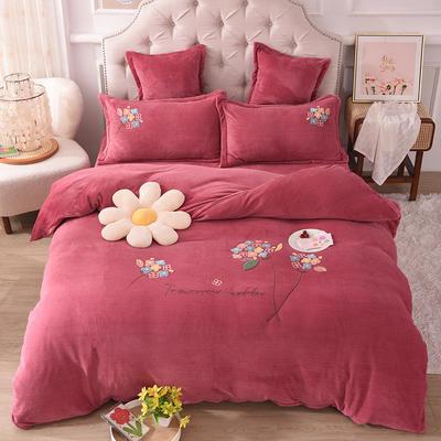 2021新款牛奶绒毛巾绣四件套-绣球花系列 1.8米床单款四件套 绣球花-豆沙